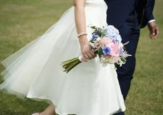 Bridal bouquet with peonies and hydrangeas