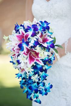Blue Dendrobium Orchids with Pink Lilies for Bridal Bouquet - Blue Dendrobi. Orchid Wedding Theme, Orchid Bouquet Wedding, Bridal Bouquet Blue, Lily Wedding, Bride Bouquets, Bridal Flowers, Purple Wedding, Stargazer Lily Bouquet, Blue Orchid Bouquet