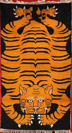tiger rug. Tibetan rug making is an ancient, traditional craft. Tibetan rugs are traditionally made from Tibetan highland sheep's wool, called changpel. Tibetans use rugs for many purposes ranging from flooring to wall hanging to horse saddles, though the most common use is as a seating carpet.
