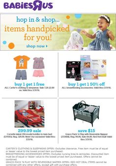Pinned March 27th: 2-for-1 on Carters kidswear & more at #Babies R Us #coupon via The #Coupons App