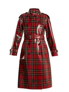 Laminated-tartan wool trench coat  8a232dbed13ef