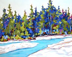 Contemporary landscape painting of trees and a river Spring Melt -- Carolee Clark