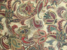 3 Yards Vintage Paisley Print Fabric by LinensandThings via Etsy