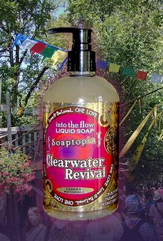 Clearwater Revival, our hippie scented liquid soap. Cedar and patchouli. Tie-dye label. Inspired by the Oregon Country Fair.