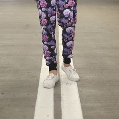Primitive Rose Noir Jogger Sweatpants // An all over rose graphic print with an elastic drawstring adjustable waist for a comfortable fit