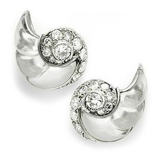 Pair of Rock Crystal and Diamond Ear Clips, by Boucheron, circa 1930