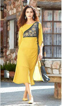 Georgette with Embroidery Work Yellow Readymade Kurti | FH613389180  Latest Fashion Readymade Kurtis Collection With Different Style Online Up to 20% OFF Discount Follow @Heenastyle Shop now at https://www.heenastyle.com/kurtis #kurtis #latest #fashion #heenastyle