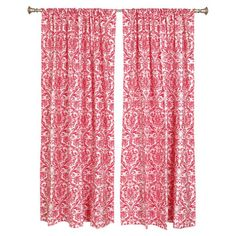 Adorned with a timeless damask motif, this cotton curtain brings elegant panache to your decor.   Product: Set of 2 curtains