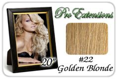 """20"""" Inch Body Wave #22 Medium Golden Blonde Pro Extensions Premier Human Hair Extensions by ProExtensions. $89.99. This Pro Extensions clip in hair extension set is Colored #22 Medium Golden Blonde. Pro Extensions are 100% human hair extensions. This set of hair extensions is 20"""" long and 39"""" wide. This hair extensions set is Grade A, Color #22 Medium Golden Blonde. The set weight is 105 grams. This set of extensions is our body wave and have a natural wave within ..."""