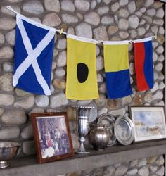 Signal Flags in the living room of a house in Groton, CT.