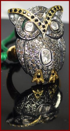 """Owlie Cow"" Price: $720    Owl! 1.48ct SINGLE/UNCUT DIAMOND SAPPHIRE GOLD ANTIQUE RING♥    Signature Victorian Collection....known for its international taste and appeal!    Imported, world-class quality, not pre-owned, not pawned, not stolen. WE DELIVER WORLDWIDE ♥"