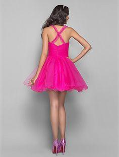 A-line Princess Straps Short/Mini Tulle Coktail Dress (635918) - USD $ 99.99