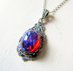 Opal Necklace Dragons Breath Jewelry Fire Opal by TwigsAndLace, $38.00