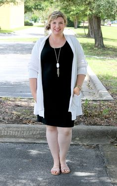 black maternity dress, cream open weave cardigan 7 -