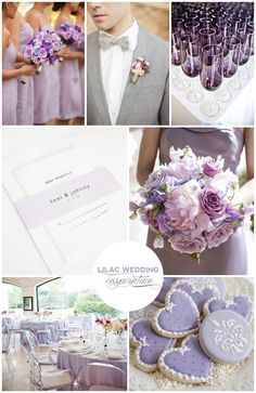 Lilac Wedding Inspiration - Purple Wedding Invitations, Gray Suit, Purple Bouquet, Heart Cookies