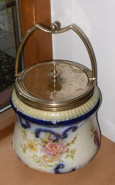 Rare 1890's Carlton Ware (Wiltshaw & Robinson) Bscuit Barrel with EPNS Lid etc.