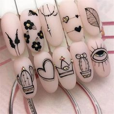 2020 Hottest Nail Design Trend Ideas – Page 70 of 135 – Inspiration Diary - Der Modischste Nagellack Hot Nails, Swag Nails, Pink Nails, Nail Art Arabesque, Hot Nail Designs, Nail Drawing, Best Acrylic Nails, Manicure E Pedicure, Dream Nails