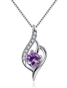 Best Gift for Women, Angel Wing Necklace Sterling Silver Necklace CZ Cubic Zirconia Charm Pendant Simulated Amethyst Necklace:   Product Features/bbrThis Angel Wing Necklace consists of a chain and a pendant contained a 925 sterling silver WING and cubic zircon.brIt consists of a clasp round socket ratchet.brbrSize/bbrLength of the chain: 17.7 inches.brHeight of the pendant: 0.82 inch.brWidth of the pendant: 0.35 inch.brbrYou Deserve It/bbrThis necklace would be a perfect simple and pe...