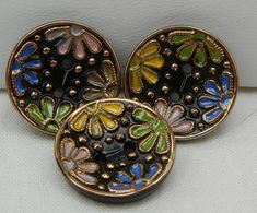 Sew Through Flower Czech Glass Buttons by MostlyButtons on Etsy