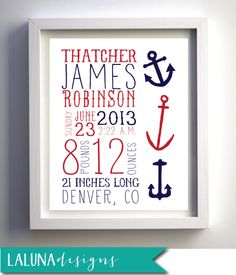 Birth Announcement Nursery Wall Art Personalized by LaLunaDesigns, $15.00