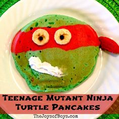 Teenage Mutant Ninja Turtles Pancakes - The Joys of Boys - (seems like you could make these with spinach to make them green instead of food coloring...)