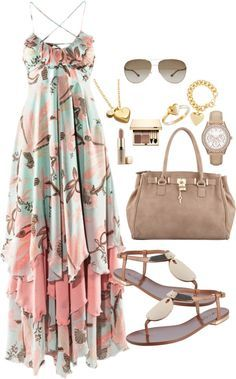 A fashion look from November 2012 featuring beach maxi dress, cognac shoes and handbags totes. Browse and shop related looks. Mode Outfits, Dress Outfits, Casual Outfits, Dress Up, Fashion Outfits, Womens Fashion, Dress Beach, Dress Shoes, Dress Skirt
