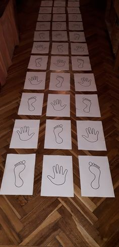 HANDS & FEET Sensory Path, Hopscotch for preschooler, Homeschooling, Floor path game for schools, Left and right learning ֎ ABOUT THE PRODUCT ֎ Two types of hopscotch. - Hopscotch with white hands and feet - Hopscotch with black Indoor Games For Kids, Fun Games For Kids, Kids Party Games, Craft Activities For Kids, Learning Activities, Preschool Activities, Crafts For Kids, Preschool Learning, Indoor Activities