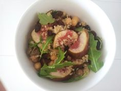 Freah fig, chickpea, tuna, saltana and fluffy white Quinoa salad with rocket and capers