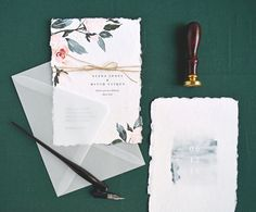 Watercolor Floral, Botanical Wedding Invitation by Rachel Marvin Creative, handmade deckle edge paper