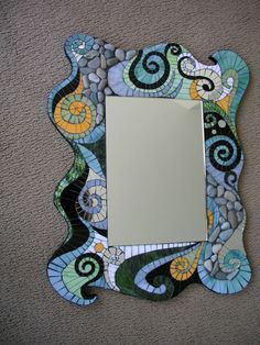 Gallery / Swirl Mirror with Orange.jpg Wix Website Ideas DIY your own web - Wix Template - Create your website with Wix. - Gallery / Swirl Mirror with Orange.jpg Wix Website Ideas DIY your own website with Wix. Gallery / Swirl Mirror with Orange. Mirror Mosaic, Mosaic Art, Mosaic Glass, Mosaic Tiles, Glass Art, Sea Glass, Mosaic Crafts, Mosaic Projects, Mosaic Designs
