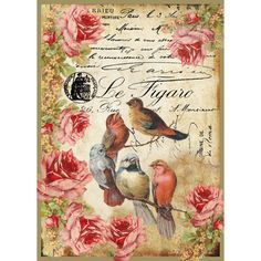 Scrapbooking Made Simple - Stamperia Rice Paper Decoupage -  Le figaro birds, $2.00 (http://scrapbookingmadesimple.com/stamperia-rice-paper-decoupage-le-figaro-birds/)