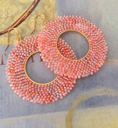 Beaded Earrings Evening Coral Spring Summer Jewelry by WorkofHeart on Etsy Big Earrings, Seed Bead Earrings, Seed Beads, Hoop Earrings, Beaded Earrings Patterns, Beaded Jewelry, Crochet Earrings, Jewellery, Brick Stitch Earrings