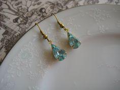 Vintage aquamarine glass charm earrings