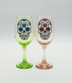 Sugar Skull Set Hand Painted Wine Glasses Green and Pink Day