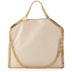 Stella McCartney Falabella Fold-Over Tote Bag ($1,270) ❤ liked on Polyvore featuring bags, handbags, tote bags, nude, foldover tote, pink tote bag, handbags totes, tote handbags and top handle handbags