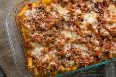 A classic Italian American comfort food of pasta baked with sausage, tomato sauce and all kinds of gooey, yummy cheeses.