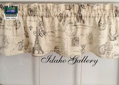 French Script on Crème Window Valance Little Curtain Modern Bedroom Kitchen Curtain Idaho Gallery
