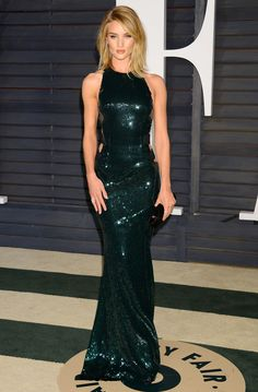 Rosie Huntington-Whiteley in Alexandre Vauthier Couture gown at 2015 Vanity Fair Oscar Party