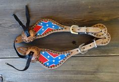 MADCOW LEATHER HAND PAINTED REBEL CONFEDERATE FLAG WESTERN COWBOY SPUR STRAPS
