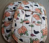 Pumpkin & Crow Potholders by Stitchinthread on Etsy