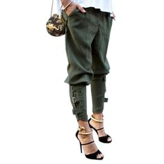 Christina High Waist Olive Military Fashion Pants
