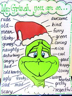Character Traits for the Grinch! First Grade Wow: Grinch Alert! Cute ideas to incorporate the Grinch into schoolwork around Christmas time Christmas Activities, Classroom Activities, Classroom Ideas, Future Classroom, Adjectives Activities, Holiday Classrooms, Christmas Worksheets, Preschool Bulletin, Class Activities