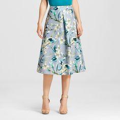 Women's Full Floral Skirt Gray M - J by Joa, Size: Medium, Grey