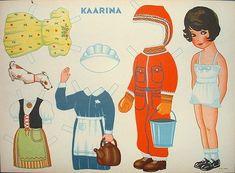 """Paperinukke """"Kaarina"""" 1940-50 valmistajana P+K, Turku"""