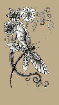 Watercolor Dragonfly Tattoo, Dragonfly Tattoo Design, Anchor Tattoo Design, Dragonfly Art, Tattoo Designs, Quilling Butterfly, Butterflies, Hawaiian Flower Tattoos, Ink Pen Art