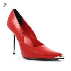 4895dbd01246 Womens Red Pointed Toe Pumps 4 1 2 Inch Heel Metal Heel and Toe Pointed