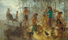 Modern Indonesian artist Lee Man Fong's Bali Life, oil on canvas, x 184 cm. Bali, Modern Art, Contemporary Art, China, Illustrations, Western Art, Art Auction, Asian Art, Art For Sale