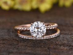 1.25 Carat Round Moissanite Solitaire Engagement Ring Set Diamond Wedding Band 14k Rose Gold Pave Thin Matching Band - BBBGEM #moissaniteengagementring #diamondsolitairering #weddingring