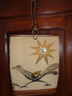 Vintage Signed 1963 ENID COLLINS of TEXAS BURLAP Satchel ROADRUNNER Desert SUN