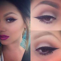 Simple shadow, dramatic liner, bold lip. Love everything about this.